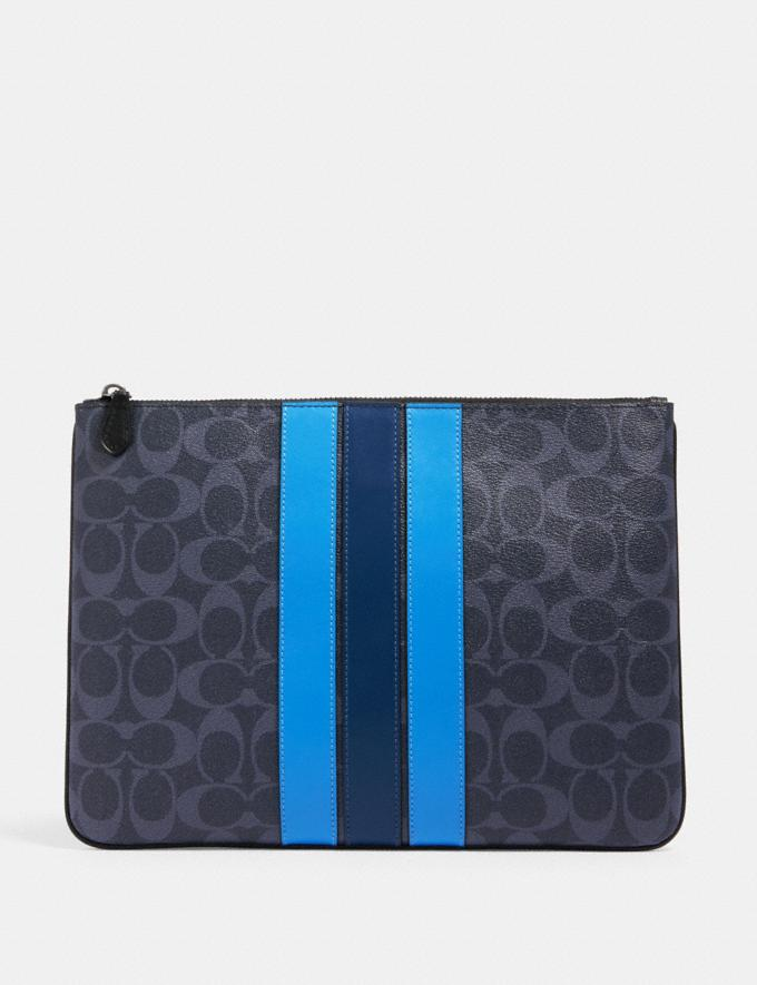 Coach Large Pouch in Signature Canvas With Varsity Stripe Qb/Denim Multi