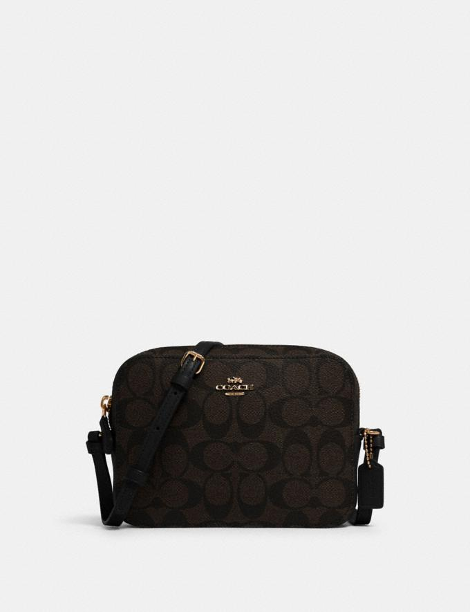 Coach Mini Camera Bag in Signature Canvas Im/Brown Black
