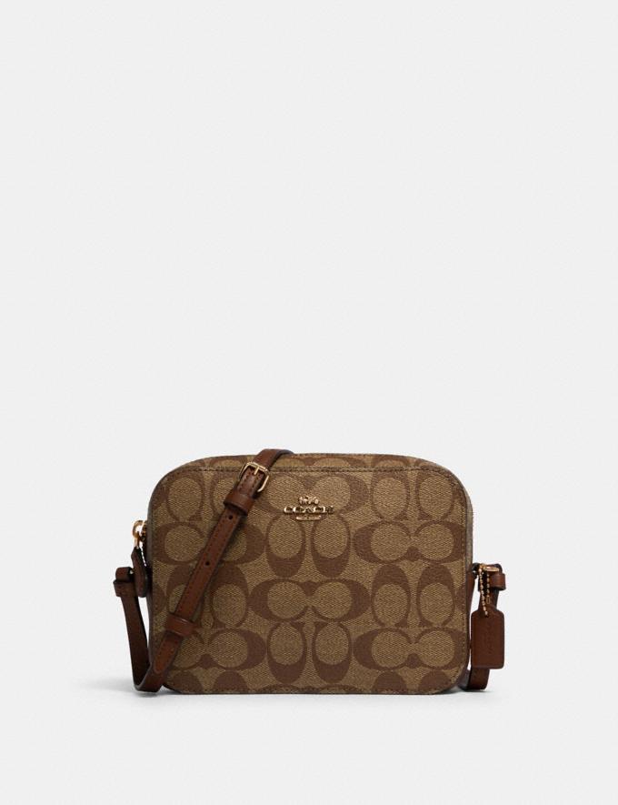 Coach Mini Camera Bag in Signature Canvas Im/Khaki Saddle 2 Under $99 Under $99