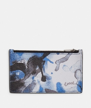 ZIP CARD CASE WITH WATERCOLOR SCRIPT PRINT