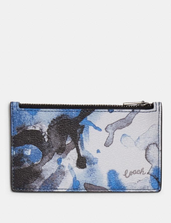 Coach Zip Card Case With Watercolor Script Print Qb/Blue