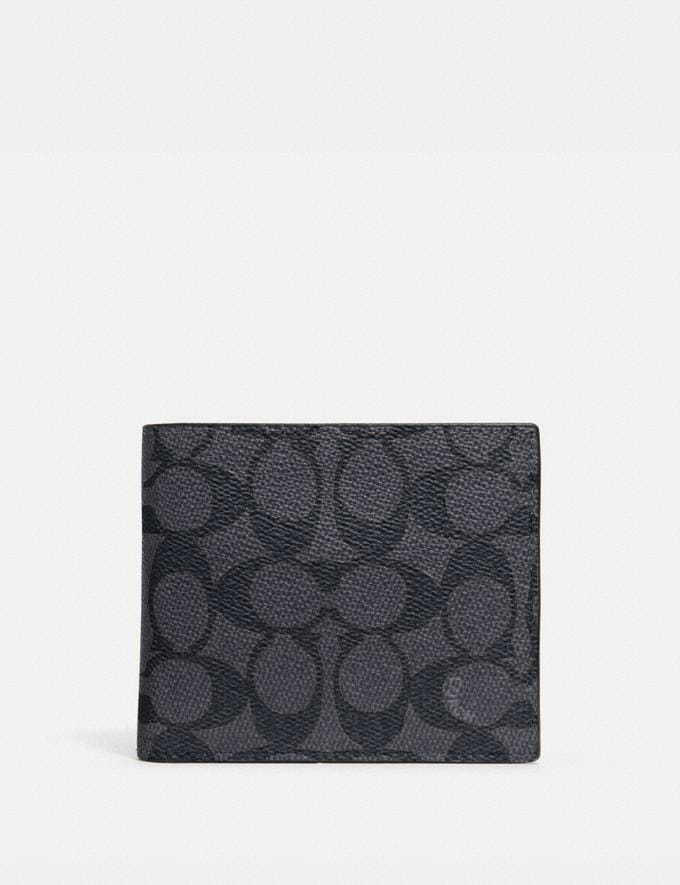 Coach 3-In-1 Wallet in Signature Canvas Charcoal/Black New Men's New Arrivals Wallets