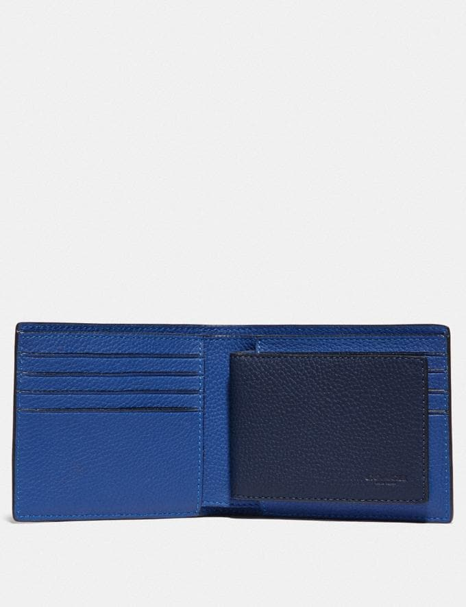 Coach 3-In-1 Wallet in Colorblock Deep Sky/True Navy Men Edits Work Alternate View 1