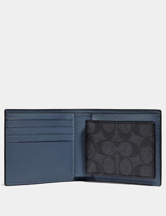 Coach 3-In-1 Wallet in Signature Canvas With Coach Patch Charcoal/Deep Sky Men Wallets Billfolds Alternate View 1