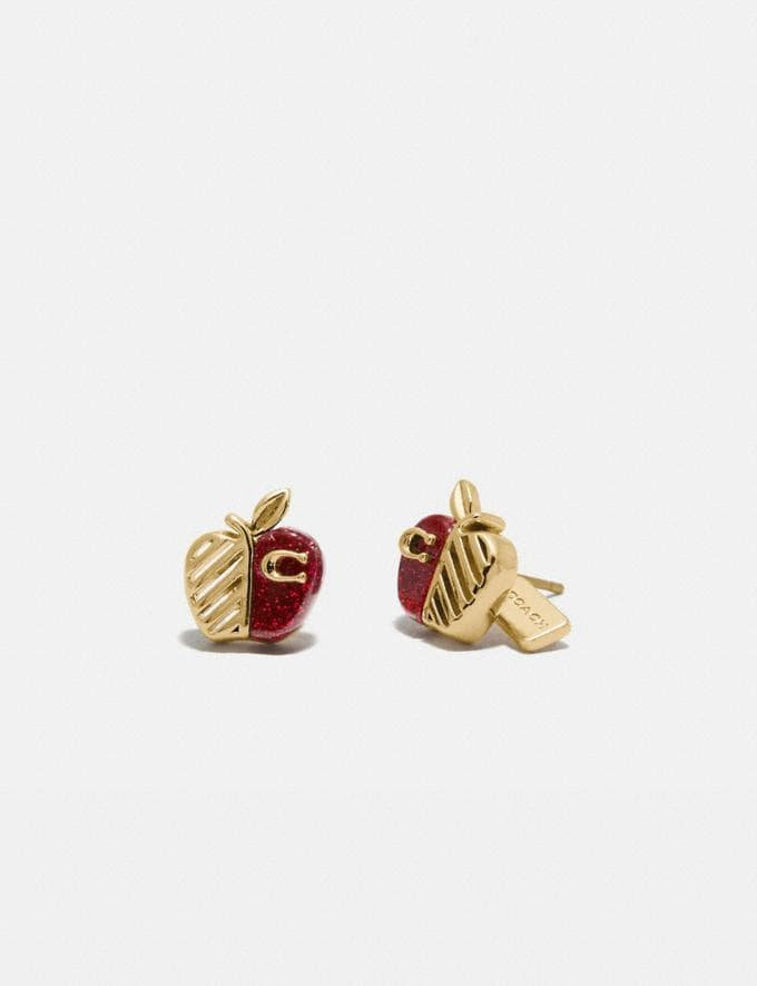 Coach Apple Stud Earrings Gd/Red