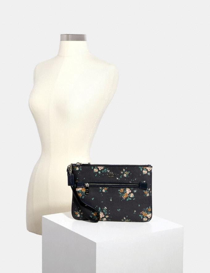 Coach Gallery Pouch With Rose Bouquet Print Sv/Midnight Multi  Alternate View 2