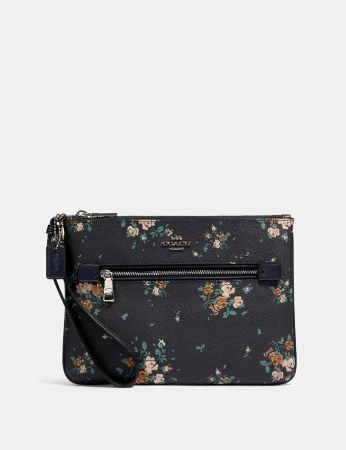 Coach Gallery Pouch With Rose Bouquet Print Sv/Midnight Multi