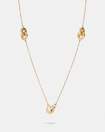 interlocking open circle long necklace