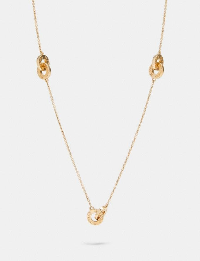 Coach Interlocking Open Circle Long Necklace Gold
