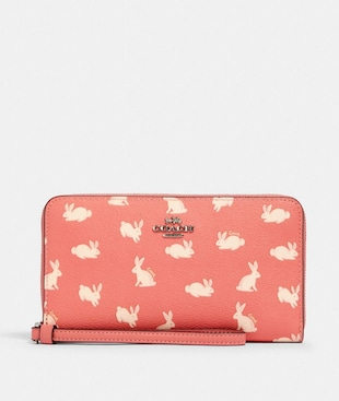 LARGE PHONE WALLET WITH BUNNY SCRIPT PRINT