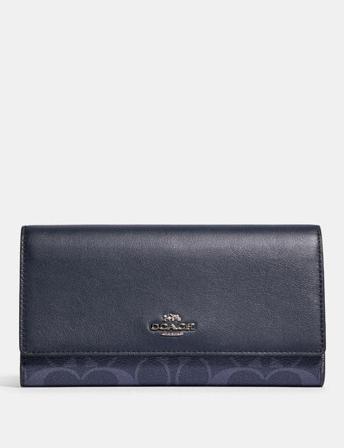Coach Trifold Wallet in Signature Canvas Sv/Denim Midnight
