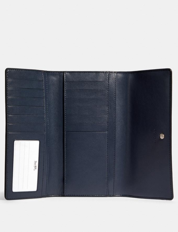 Coach Trifold Wallet in Signature Canvas Sv/Denim Midnight  Alternate View 1