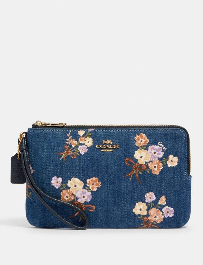 Coach Double Zip Wallet With Painted Floral Box Print Im/Denim Multi