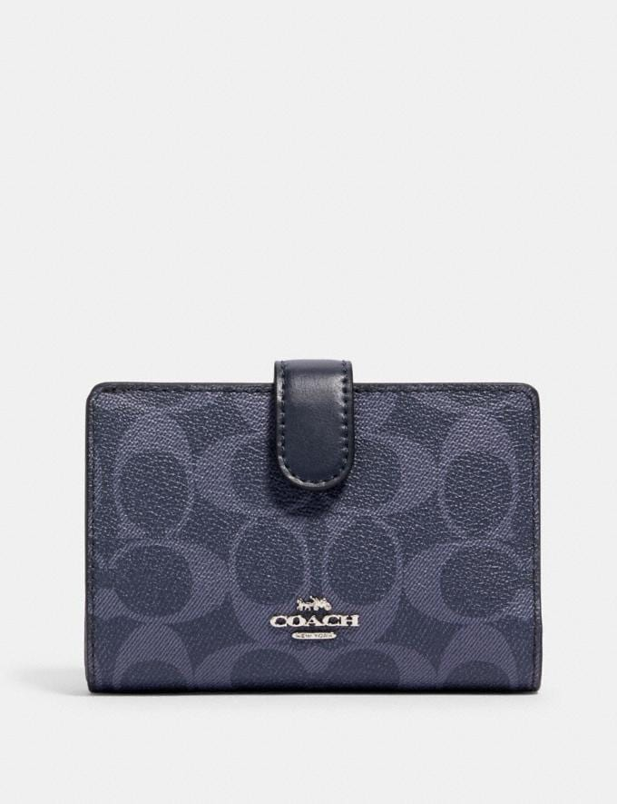 Coach Medium Corner Zip Wallet in Signature Canvas Sv/Denim Midnight