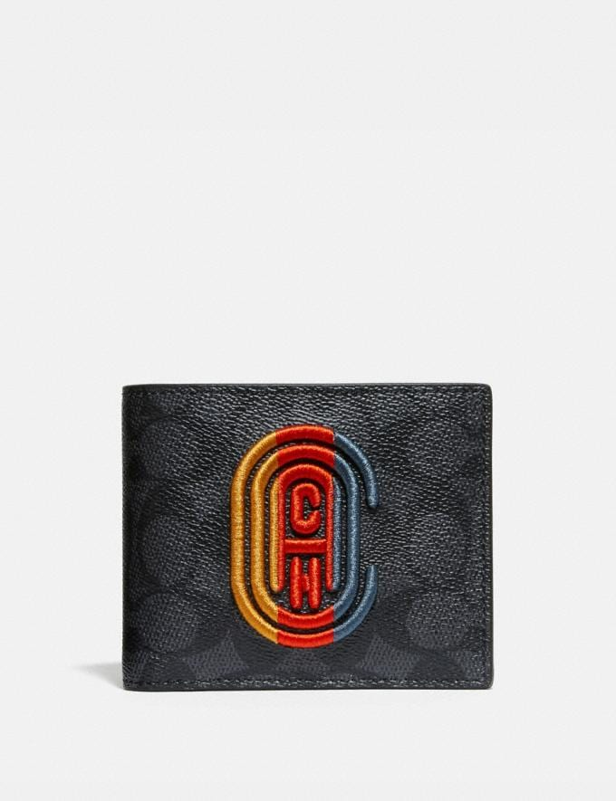 Coach 3-In-1 Wallet in Signature Canvas With Coach Patch Charcoal Signature Multi Men Wallets Billfolds