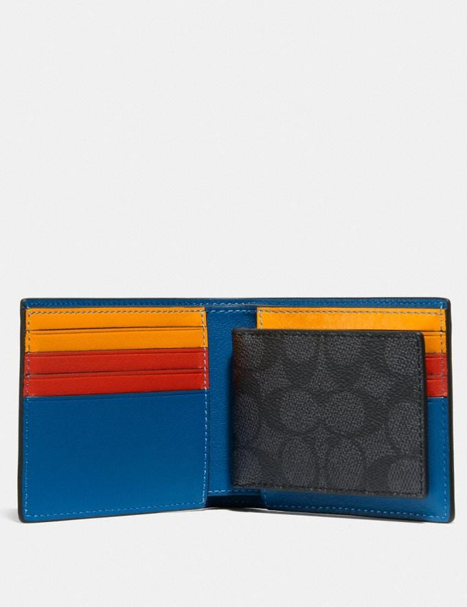 Coach 3-In-1 Wallet in Signature Canvas With Coach Patch Charcoal Signature Multi Men Wallets Billfolds Alternate View 1