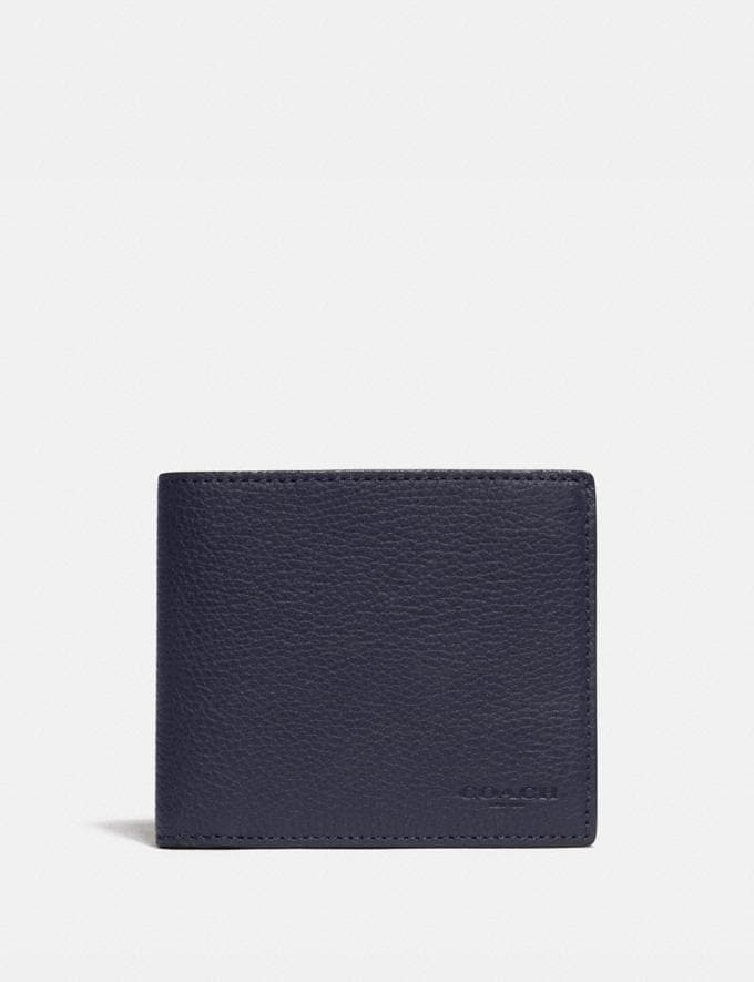 Coach 3-In-1 Wallet With Signature Canvas Detail Midnight/Charcoal Men Wallets Billfolds