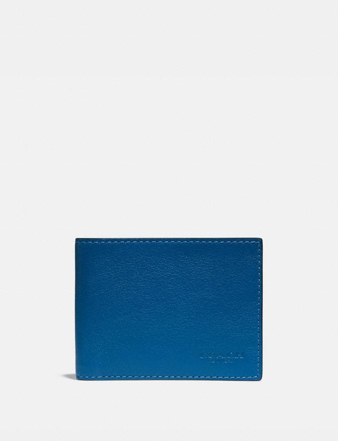 Coach Slim Billfold Wallet With Signature Canvas Interior Pacific/Chalk Men Wallets Billfolds