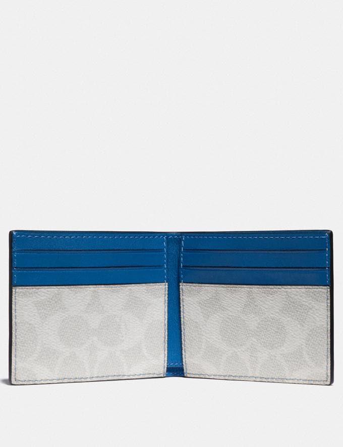Coach Slim Billfold Wallet With Signature Canvas Interior Pacific/Chalk Men Wallets Billfolds Alternate View 1