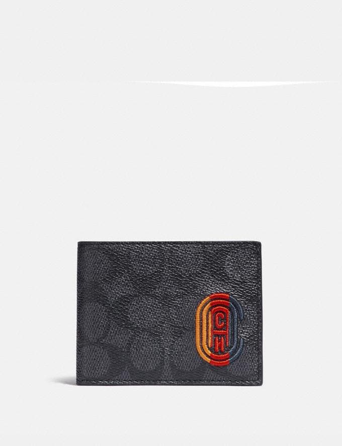 Coach Slim Billfold Wallet in Signature Canvas With Coach Patch Charcoal Signature Multi Men Wallets Billfolds