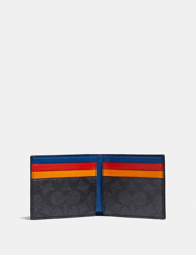 Coach Slim Billfold Wallet in Signature Canvas With Coach Patch Charcoal Signature Multi Men Wallets Billfolds Alternate View 1