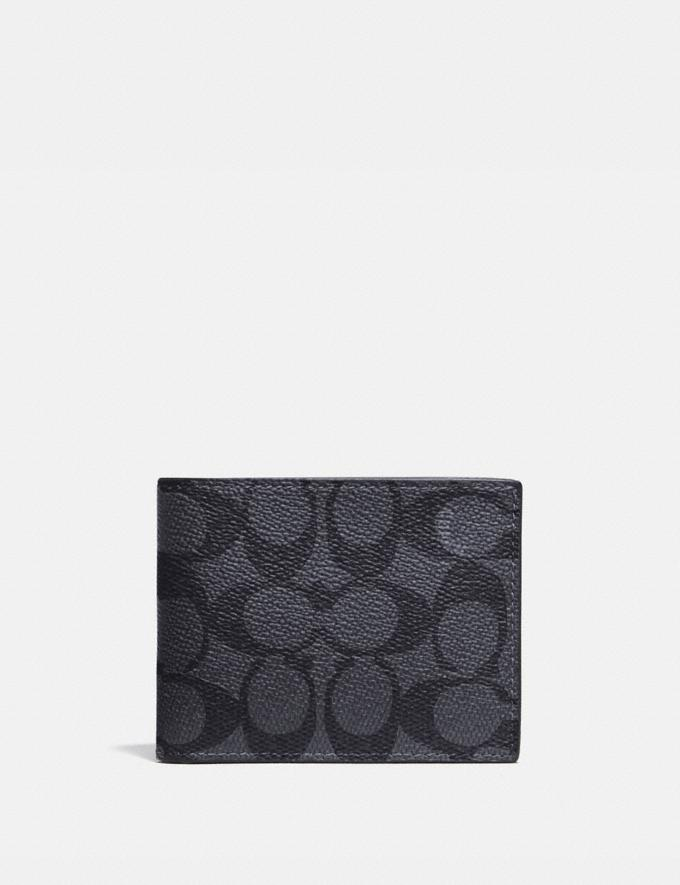 Coach Slim Billfold Wallet in Signature Canvas Charcoal/Black Men Wallets Billfolds