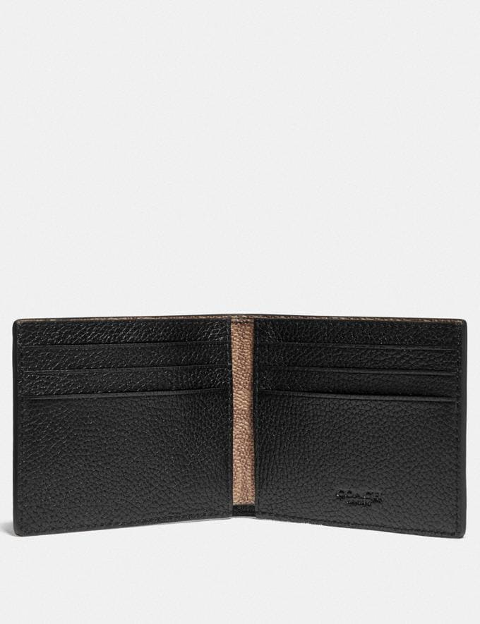 Coach Slim Billfold Wallet With Signature Canvas Detail Black/Khaki Men Wallets Billfolds Alternate View 1