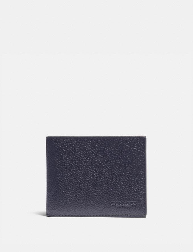 Coach Slim Billfold Wallet With Signature Canvas Detail Midnight/Charcoal