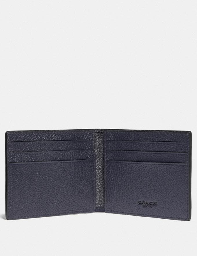 Coach Slim Billfold Wallet With Signature Canvas Detail Midnight/Charcoal  Alternate View 1