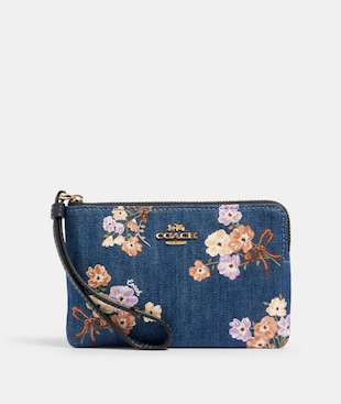 CORNER ZIP WRISTLET WITH PAINTED FLORAL BOX PRINT