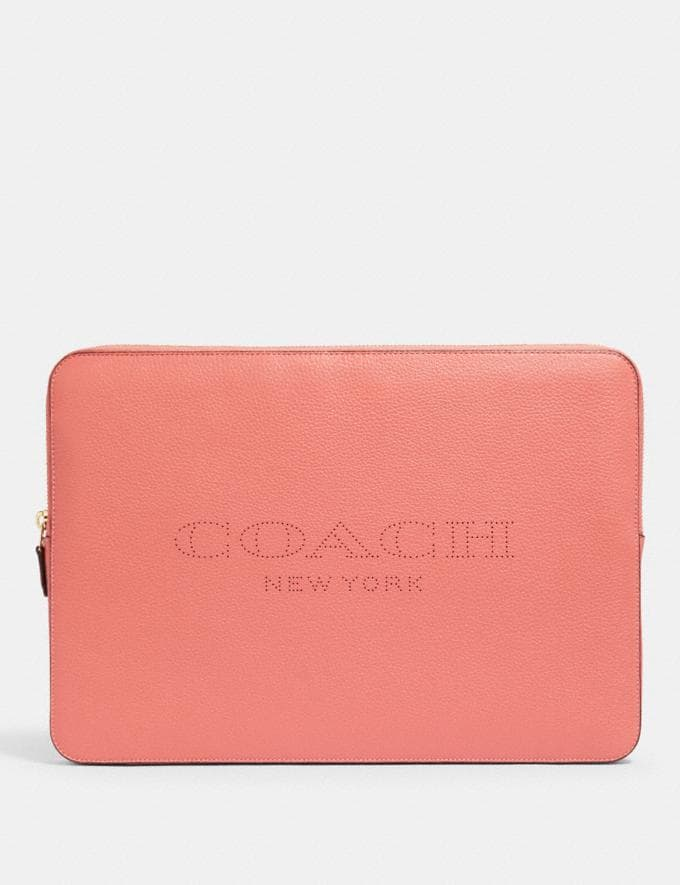 Coach Laptop Sleeve With Coach Print Im/Bright Coral
