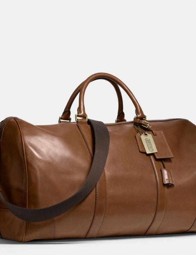 Coach Bleecker Cabin Bag in Leather Fawn/Brass Men Bags Totes & Duffles Alternate View 2