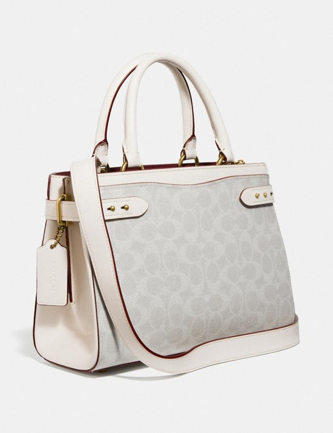 Coach Hutton Carryall in Signature Canvas B4/Chalk Chalk Women Bags Satchels Alternate View 1