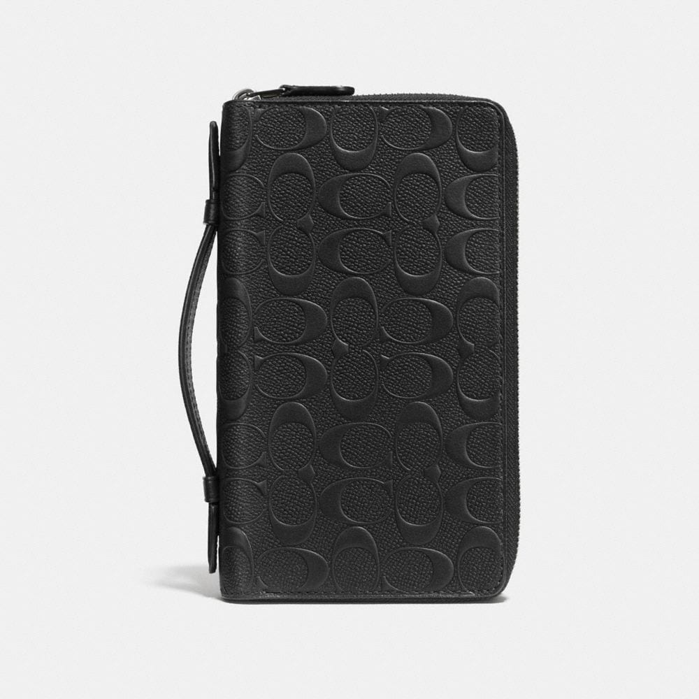 coach wallets sale outlet eu1u  DOUBLE ZIP TRAVEL ORGANIZER IN SIGNATURE CROSSGRAIN LEATHER