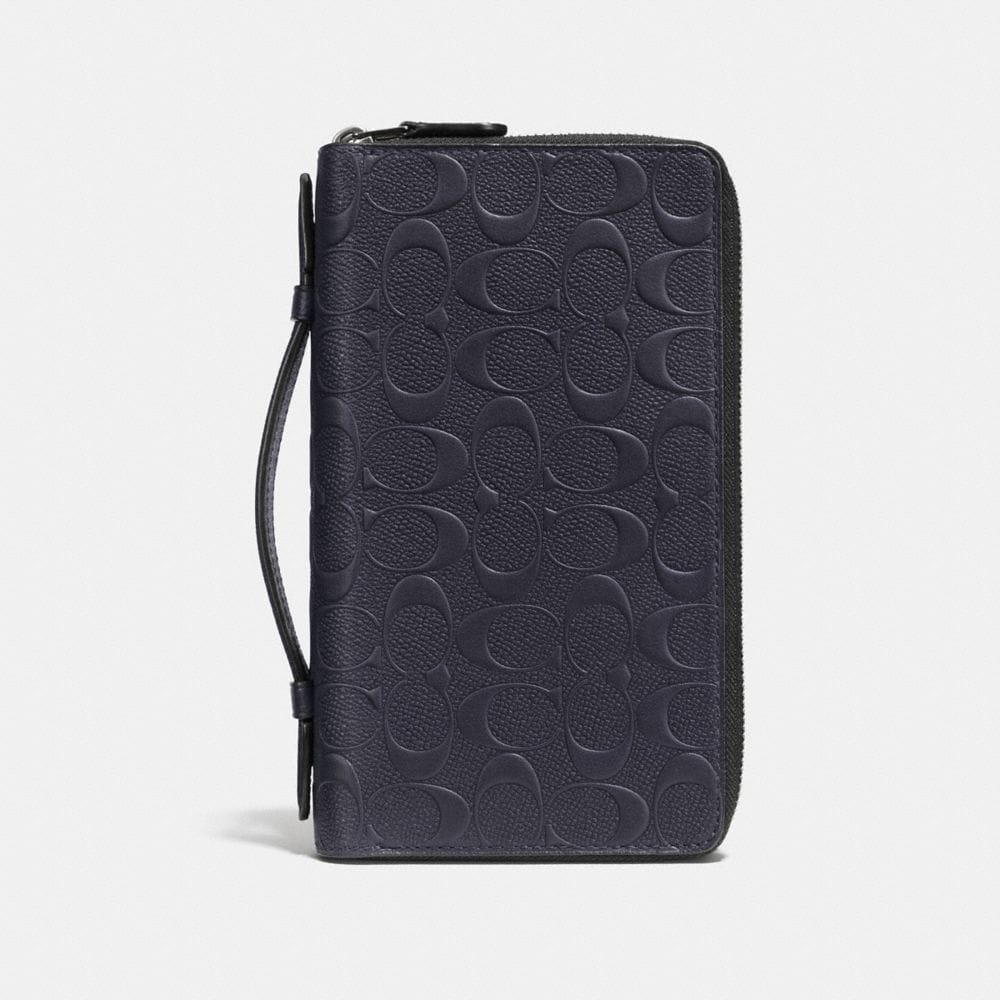 DOUBLE ZIP TRAVEL ORGANIZER IN SIGNATURE CROSSGRAIN LEATHER