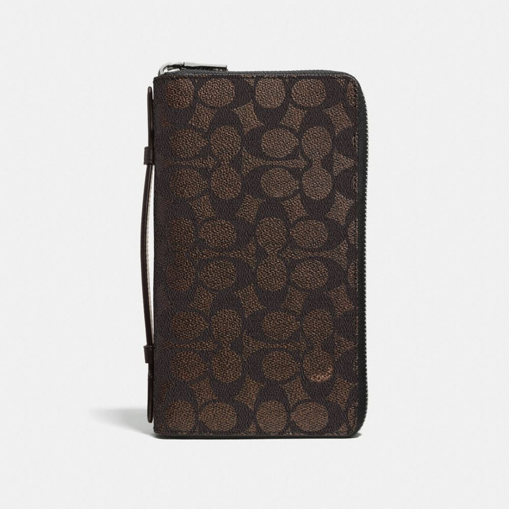 DOUBLE ZIP TRAVEL ORGANIZER IN EMBOSSED SIGNATURE CANVAS