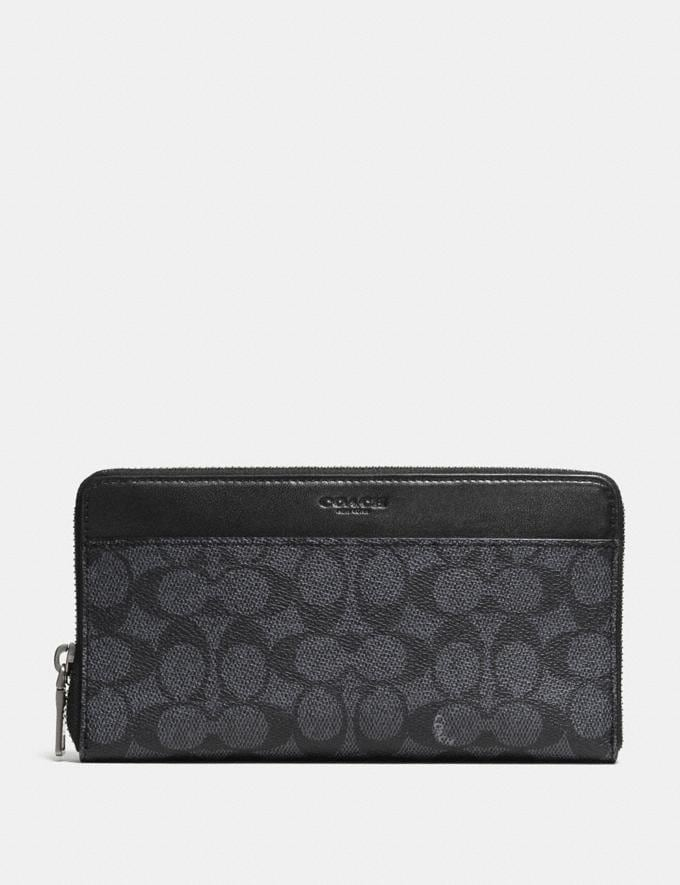 Coach Document Wallet in Signature Canvas Charcoal VIP SALE Men's Sale Accessories