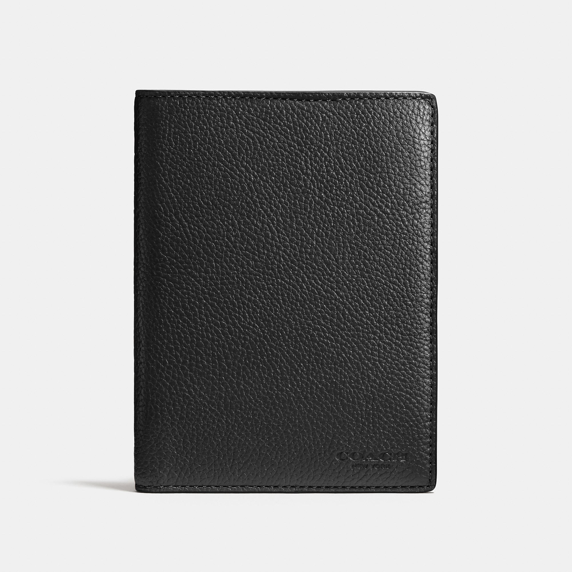 Coach Passport Case In Refined Pebble Leather