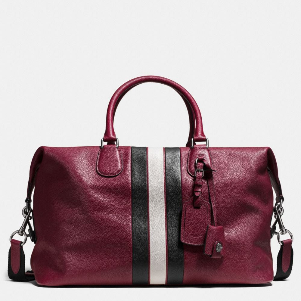 Coach Varsity Stripe Explorer Bag in Pebble Leather