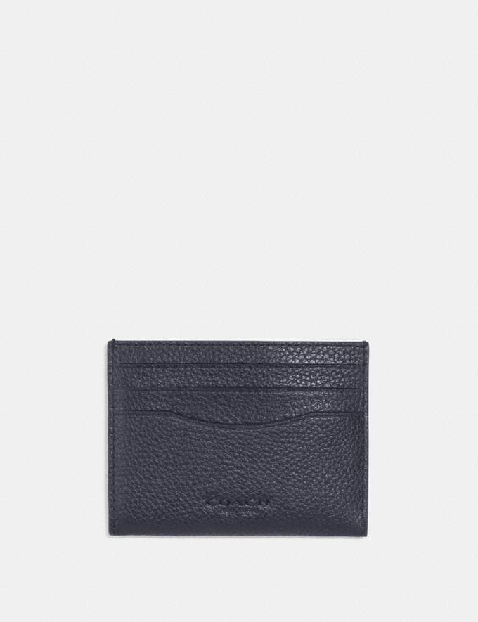 Coach Card Case With Signature Canvas Interior Midnight/Charcoal