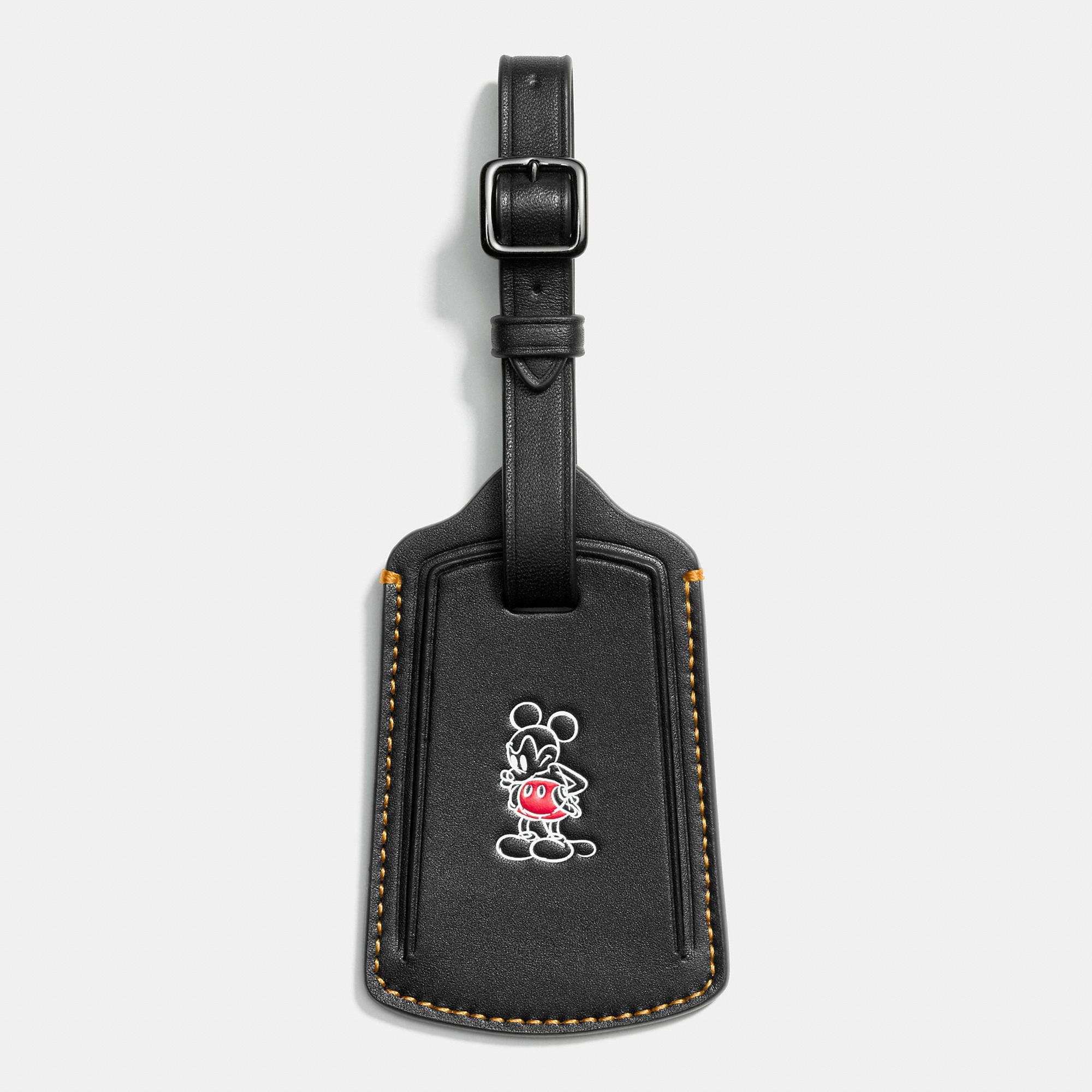 Coach Mickey Luggage Tag In Glovetanned Leather - Disney