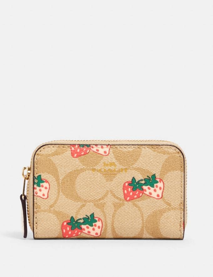 Coach Zip Around Coin Case in Signature Canvas With Strawberry Print Im/Khaki Multi