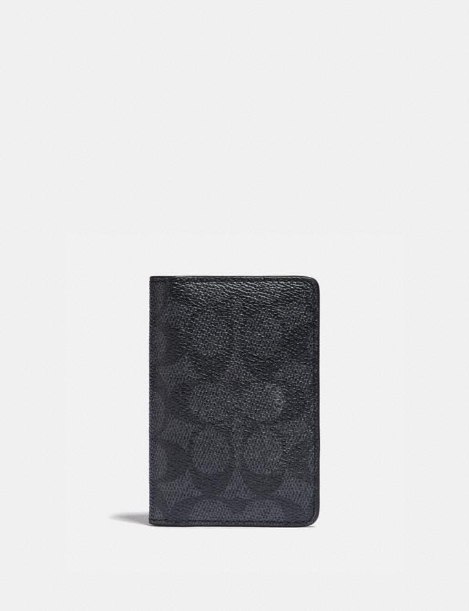 Coach Card Wallet in Signature Canvas With Colorblock Interior Charcoal Signature Multi Men Wallets Billfolds