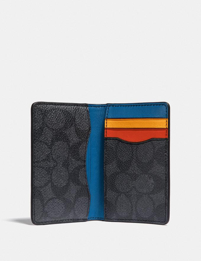 Coach Card Wallet in Signature Canvas With Colorblock Interior Charcoal Signature Multi Men Wallets Billfolds Alternate View 1