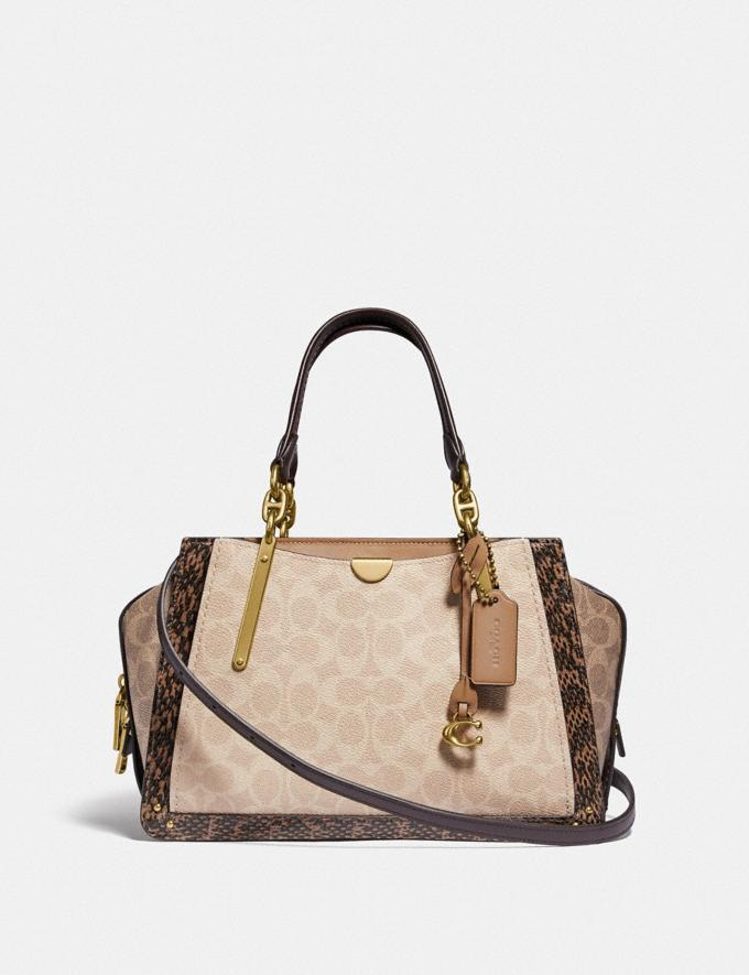 Coach Dreamer in Blocked Signature Canvas With Snakeskin Detail Brass/Tan Sand New Featured Women New Top Picks