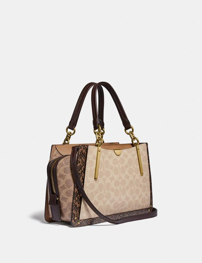 Coach Dreamer in Blocked Signature Canvas With Snakeskin Detail Brass/Tan Sand  Alternate View 1
