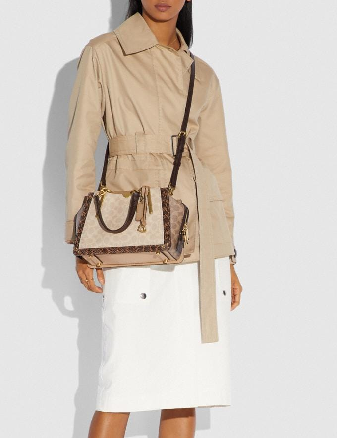 Coach Dreamer in Blocked Signature Canvas With Snakeskin Detail Brass/Tan Sand  Alternate View 3