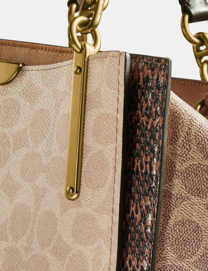 Coach Dreamer in Blocked Signature Canvas With Snakeskin Detail Brass/Tan Sand  Alternate View 4