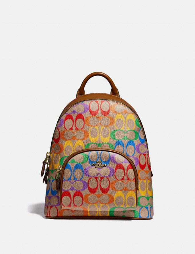Coach Carrie Backpack 23 in Rainbow Signature Canvas B4/Tan Penny Multi New Featured Coach Pride Collection