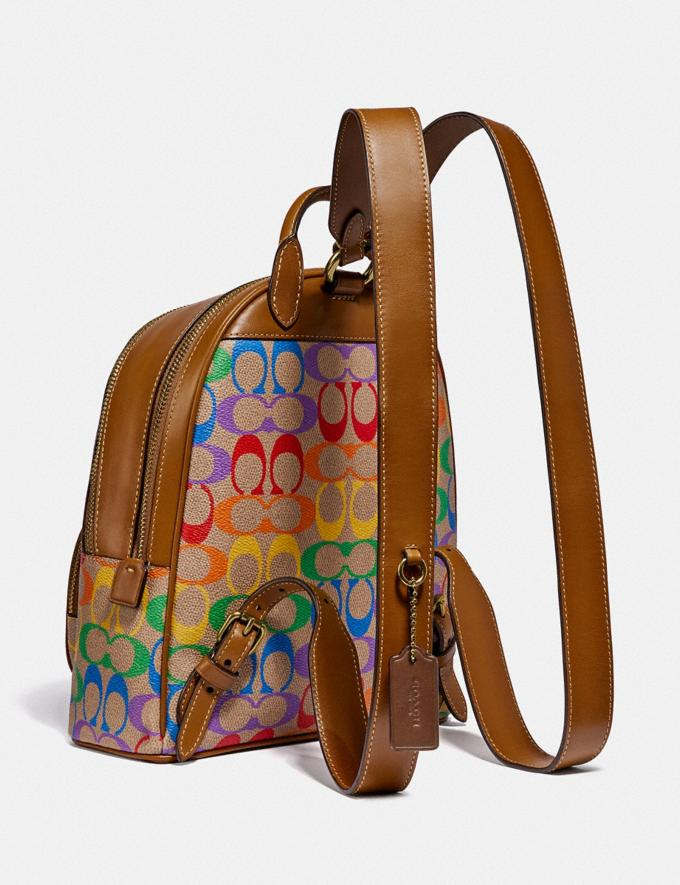 Coach Carrie Backpack 23 in Rainbow Signature Canvas B4/Tan Penny Multi New Featured Coach Pride Collection Alternate View 1
